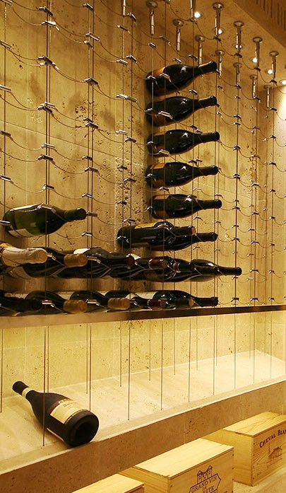 Cable Wine System Custom Wine Racks with Display Shelf Miami