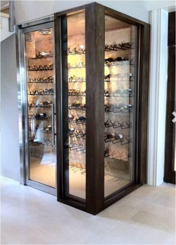 Contemporary Custom Wine Cellar in florida with Glass Door