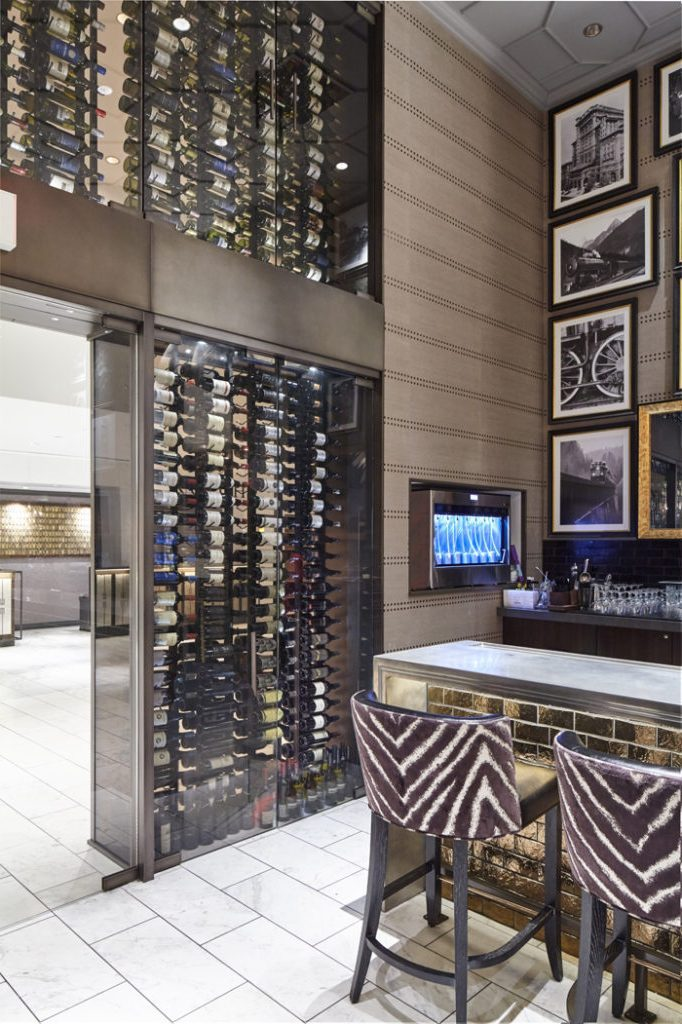 Contemporary Commercial Wine Cellar Built by a Reliable Installer in Miami Using VintageView Custom Wine Racks