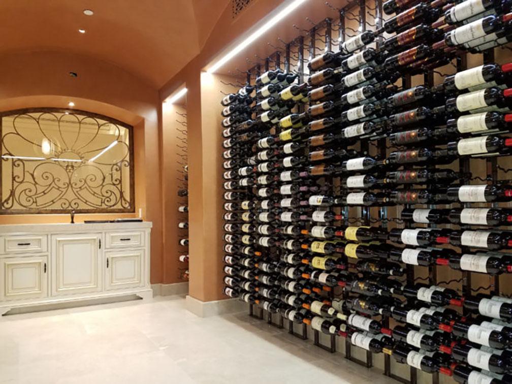 Contemporary Residential Wine Cellar with Metal Wine Racks