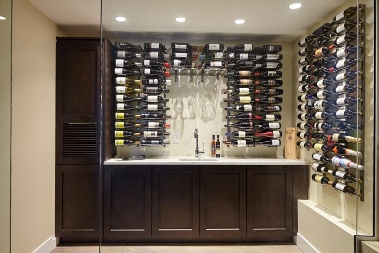 VintageView Wall Mounted Custom Metal Wine Rack System Miami Residential Wine Cellar