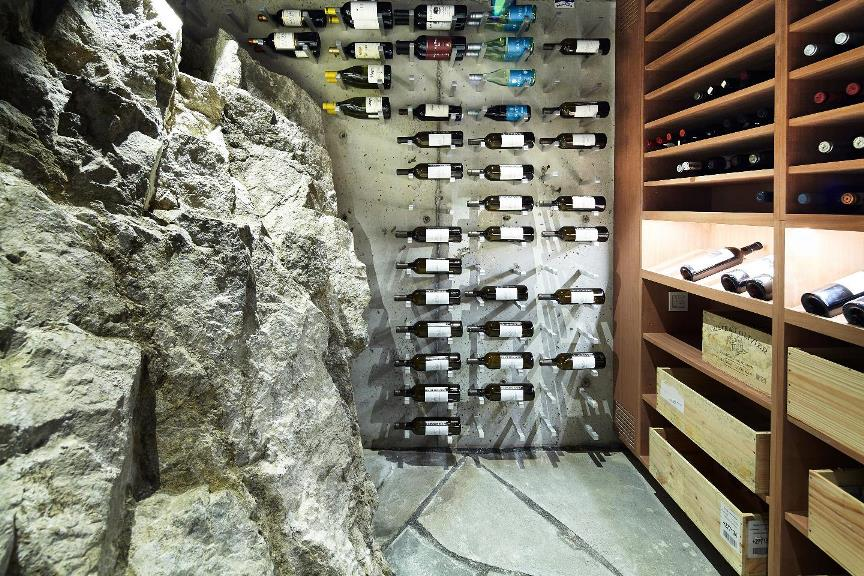Miami Transitional custom wine cellar with Metal and Wooden Wine Racks