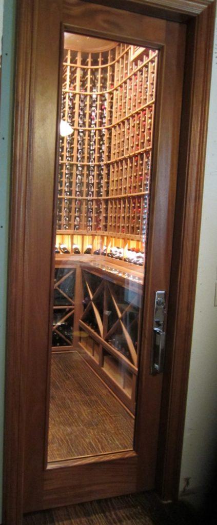 Square Top Barolo Custom Wine Cellar Door in Mahogany Designed by Experts in Miami