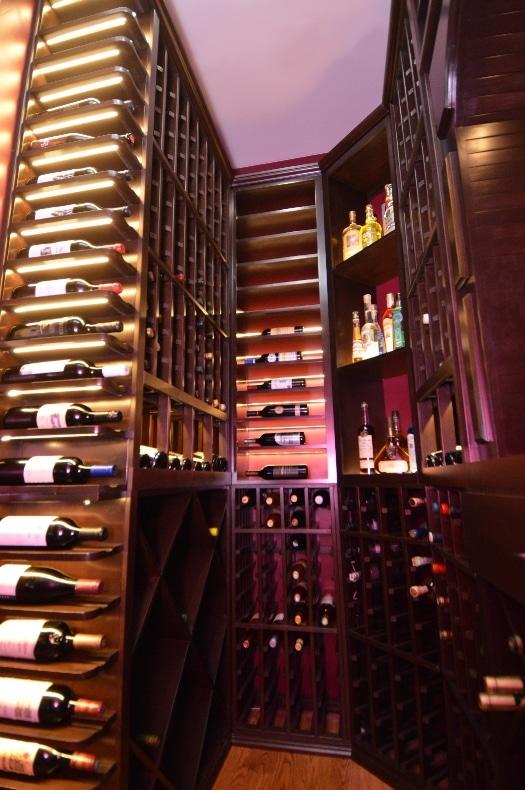 Custom Home Wine Cellar with Wood Wine Racks